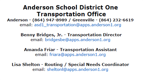 ASD1 Transportation Office Contacts